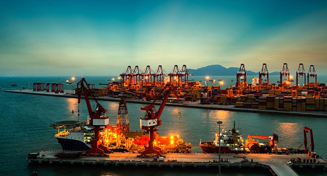 ocean container terminal in shanghai international shipping center